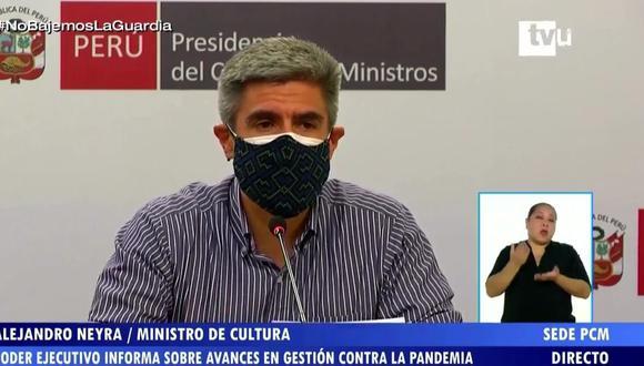La conferencia fue dada por los ministros de Comercio Exterior (Claudia Cornejo) y Cultura (Alejandro Neyra) | Captura tv Perú