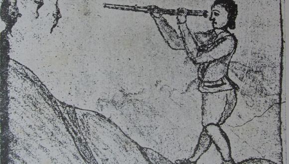Estampa dibujada por Santiago de Cárdenas en la que se representa haciendo sus observaciones en la pampa de Amancaes.