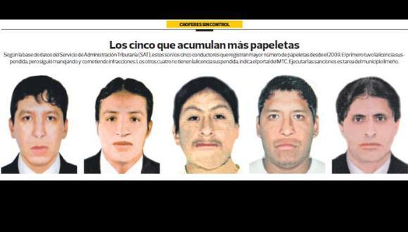 Estos son los cinco choferes con más papeletas en Lima