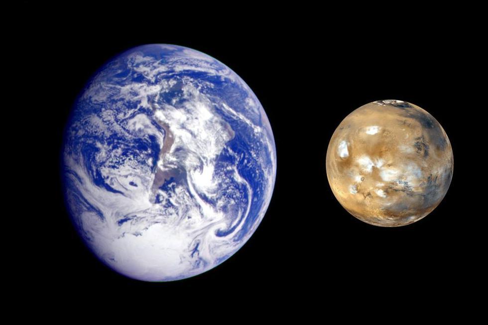 La Tierra mide 7926 millas, mientras que Marte solo 4220 millas, ligeramente más grande que la Luna, que mide 2159 millas. Se necesitan más de 6 planetas Marte para llenar el volumen de la Tierra. (Foto: NASA/JPL)