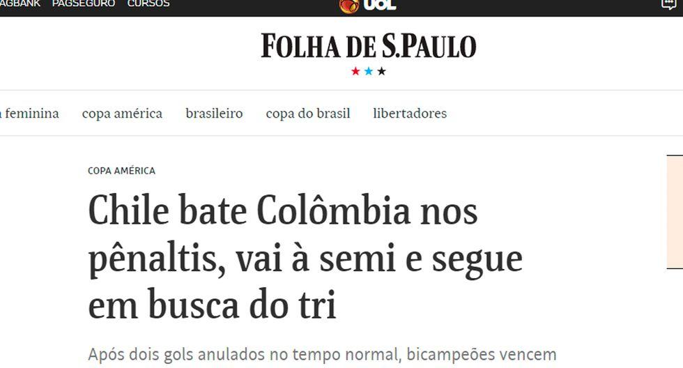 Así informaron los medios internacionales la clasificación de Chile en la Copa América. (Folha de Sao Paulol)