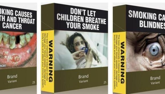 Así lucirán las cajetillas de cigarros en el Reino Unido