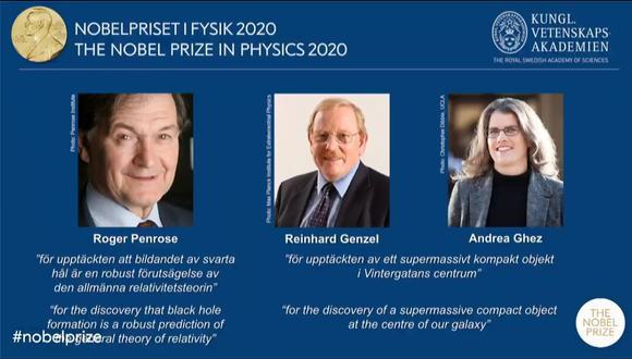 """La mitad del premio recayó en Roger Penrose por demostrar """"que la formación de un agujero negro es una predicción sólida de la teoría de la relatividad general"""".  (Captura / YouTube / Nobel Prize)"""