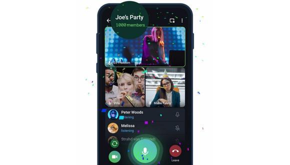 Ahora mil espectadores podrán disfrutar de una videollamada grupal en la app de mensajería. (Foto: Telegram)