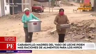Madres de Carabayllo piden mayor ración de comida para niños beneficiarios del vaso de leche