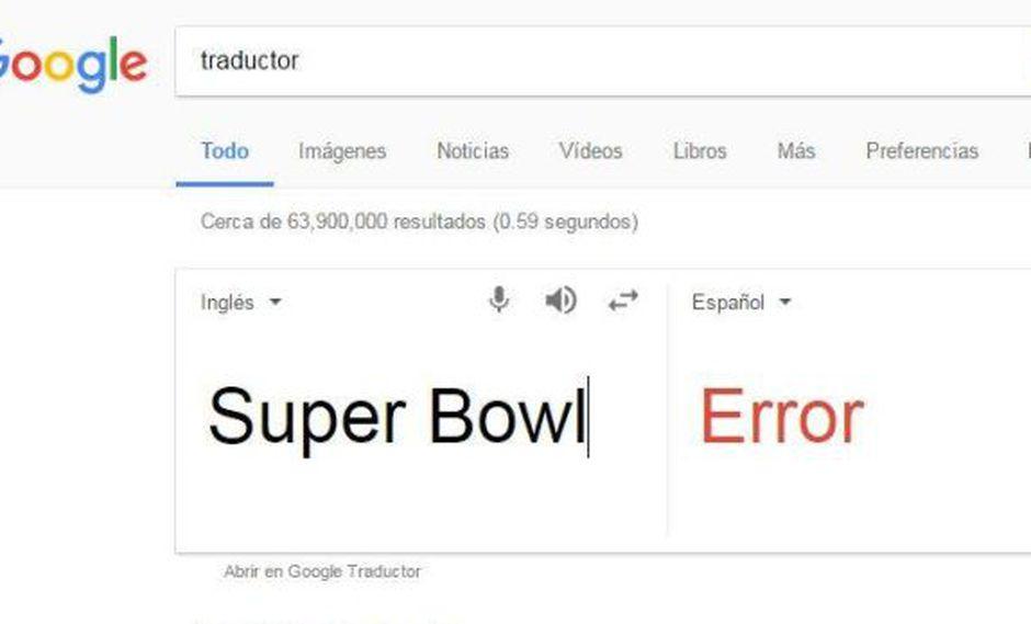 """Google Traductor y sus problemas para traducir """"Super Bowl"""""""
