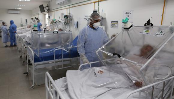 Pacientes de la Unidad de Cuidados Intensivos para coronavirus del Hospital Gilberto Novaes en Manaos. Fuente: AFP / MICHAEL DANTAS