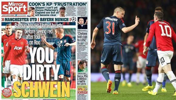 Schweinsteiger es llamado 'cerdo asqueroso' por medios ingleses