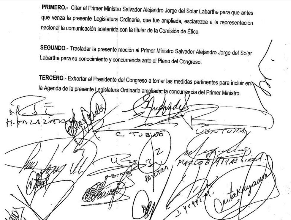 El documento lleva las firmas de congresistas de Fuerza Popular. (Foto: El Comercio)