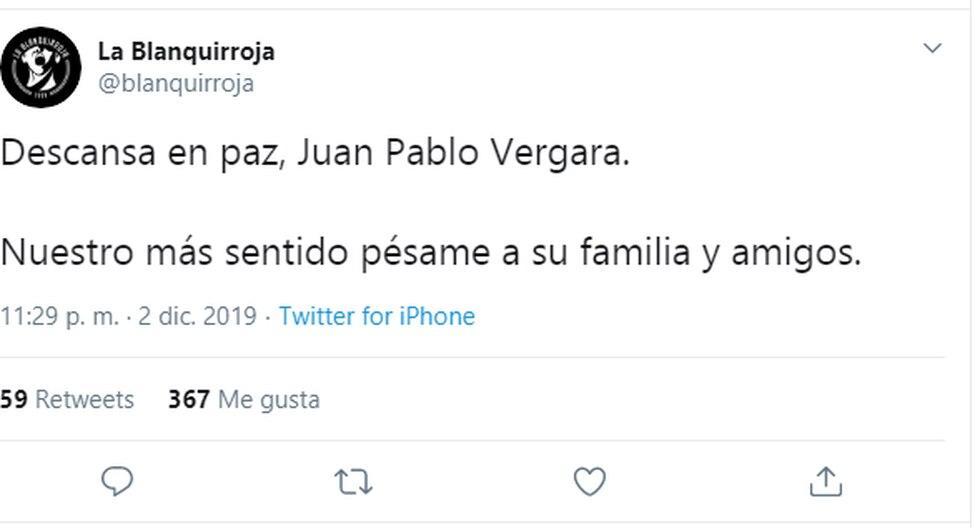 El mundo del fútbol le dedicó sentidos mensajes al fallecido Juan Pablo Vergara | Foto: Captura