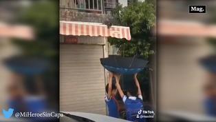 Viral: rescatan a gatito a través de un paraguas | VIDEO