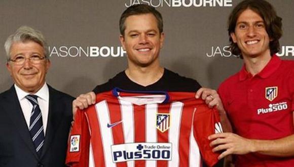Matt Damon posó con la camiseta del Atlético de Madrid español