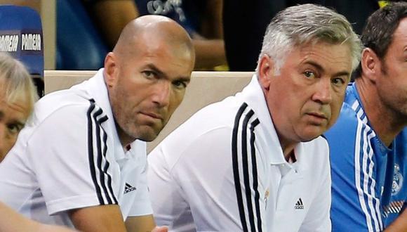 Carlo Ancelotti habló de Zinedine Zidane en su presentación como entrenador de Real Madrid. (Foto: EFE)