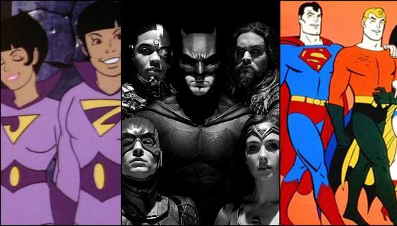 """A los extremos, personajes de la recordada serie """"Los Súper Amigos"""". Al centro, los héroes de """"Justice League"""" que volverán por HBO Max con la versión de Zack Snyder. Fotos: ABC/ Warner Bros."""
