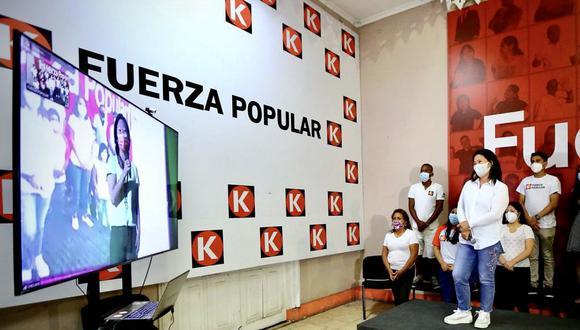 El lunes por la noche, Keiko Fujimori realizó un mitin virtual, dirigido a sus seguidores en Chiclayo. En el norte esta Sachi Fujimori, Luis Galarreta y Nano Guerra García. (Foto: Fuerza Popular)