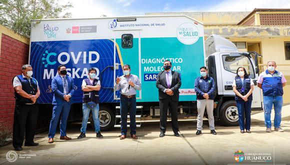 La unidad móvil permitirá la búsqueda activa de contagiados y la disminución del tránsito de personas sospechosas de portar el virus, en las zonas de mayor contagio en Huánuco. (Foto: Gore Huánuco)