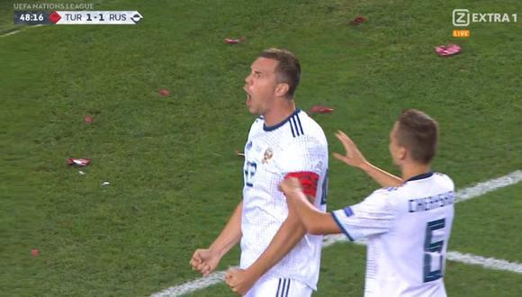 Artem Dzyuba dejó un grato recuerdo en el último Mundial. Ahora continúa demostrando sus capacidades goleadoras. Así lo evidenció ante Turquía, por la UEFA Nations League. (Foto: captura de video)