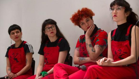 Dafne Valdes, Sibila Sotomayor, Lea Caceres y Paula Cometa de Las Tesis. (Getty Images).