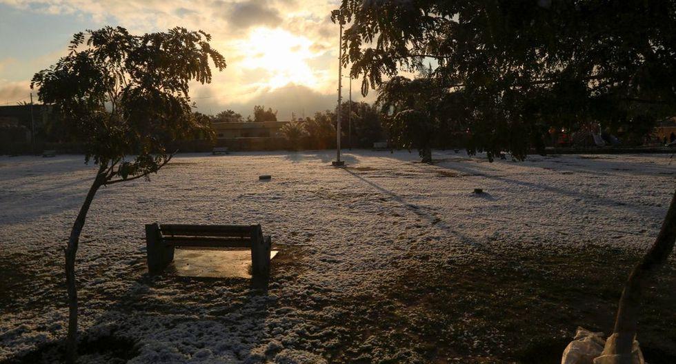 La nieve cubre un parque en la ciudad sagrada chiíta de Kerbala. (AFP)