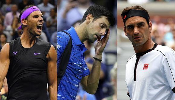 Tras el retiro de Novak Djokovic del US Open, Rafael Nadal y Roger Federer se le pueden acercar en la búsqueda del número uno del ránking ATP. (Fotos: AFP)