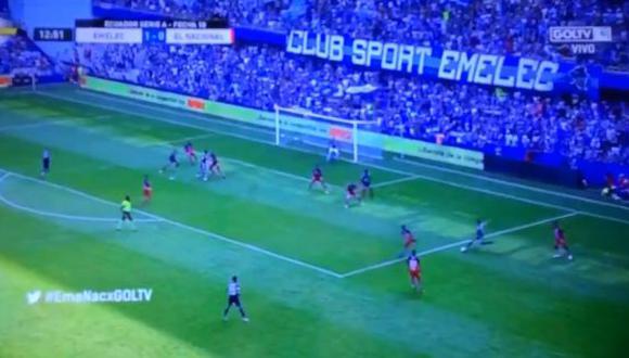 Romario Caicedo abrió el marcador frente a El Nacional | Foto: captura