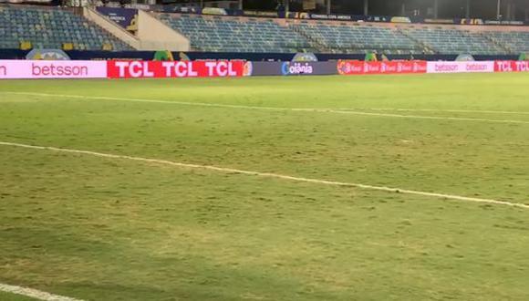 El mal estado del campo del Olímpico Pedro Ludovico Teixeira para el Argentina vs. Ecuador. (Captura: TyC Sports)