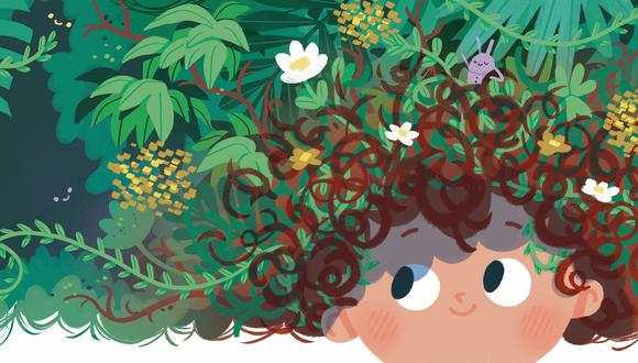 """Ilustración de Diana Okuma para """"Cabecita de jardín"""", escrito por Maite Mujica. Fuente: Ediciones Pichoncito."""