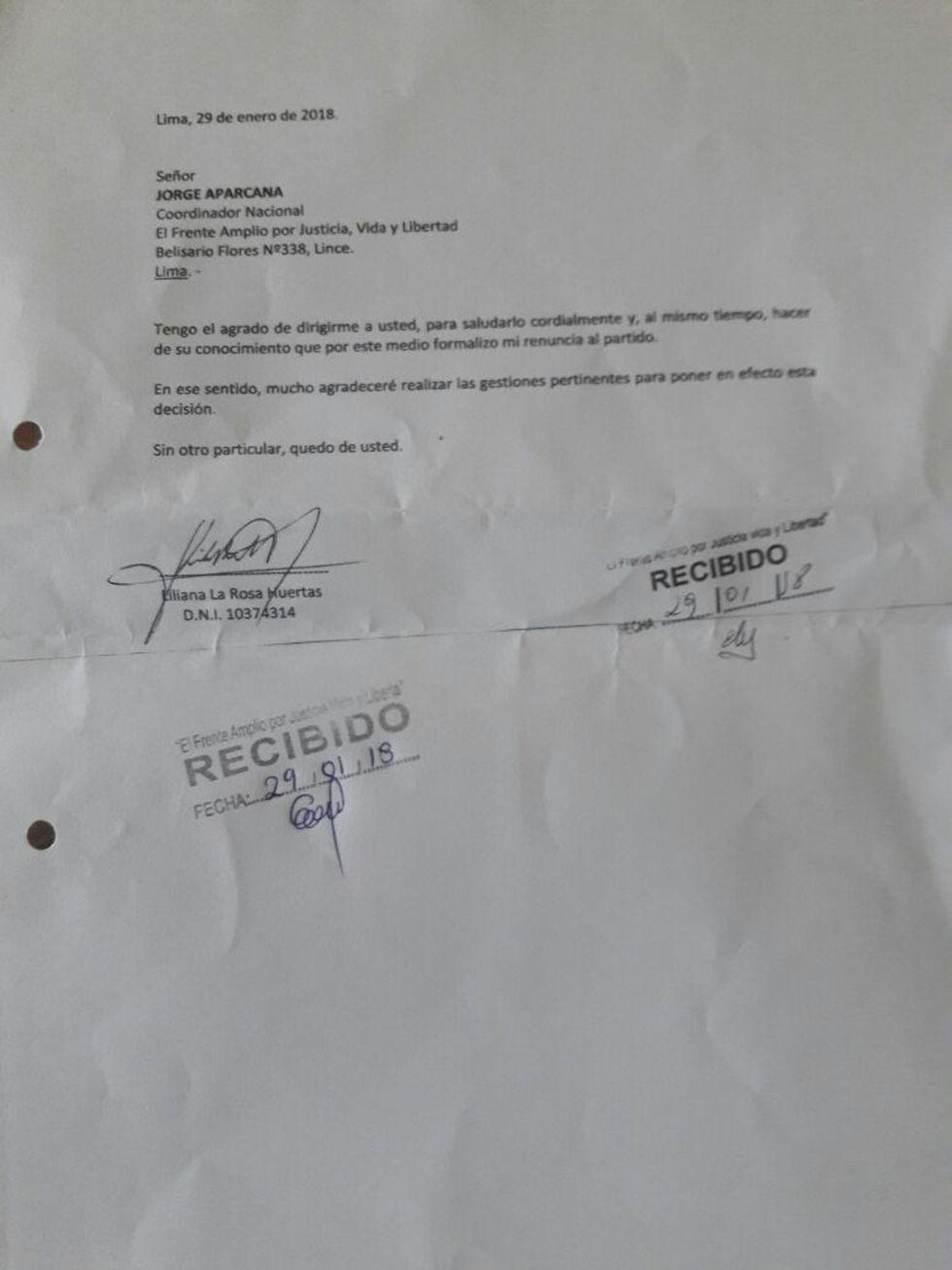 Renuncia de Liliana La Rosa al Frente Amplio.
