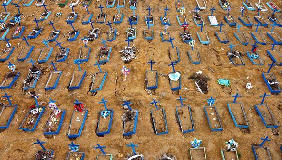 Coronavirus en Brasil | Ultimas noticias | Último minuto: reporte de infectados y muertos lunes 25 de mayo del 2020 | Covid-19 | Vista aérea del cementerio de Manaos. (Foto: MICHAEL DANTAS / AFP).