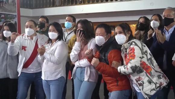 Keiko Fujimori estuvo acompañada por su familia y militantes de Fuerza Popular. (Difusión)