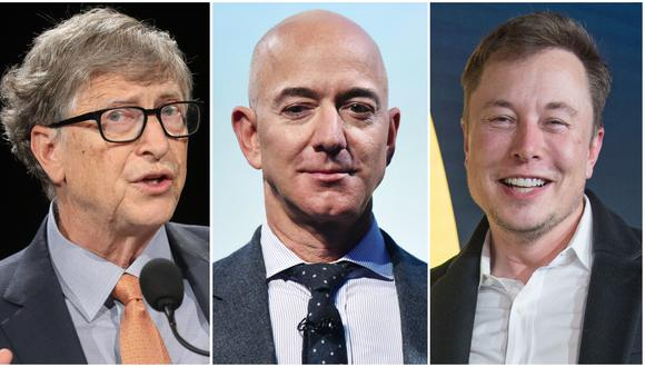 Bill Gates, Jeff Bezos y Elon Musk. (AFP)