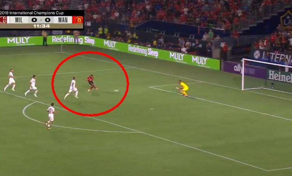 Manchester United vs. Milan: el gol de Alexis Sánchez para el 1-0. (Foto: captura)