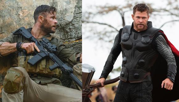 Chris Hemsworth en sus papeles como Tyler Rake en Misión de Rescate y Thor (derecha) en las películas de Marvel. Hay algo que los une.