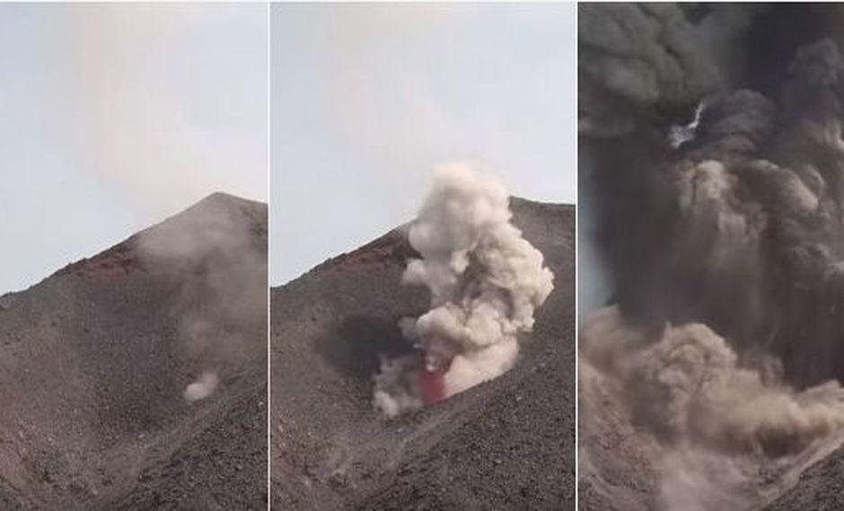 Un dron, a unos 330 metros del suelo, registró los precisos instantes en los que el cráter asiático hace violentas emisiones de fuego. Las imágenes se viralizaron en YouTube. (Foto: captura de video)
