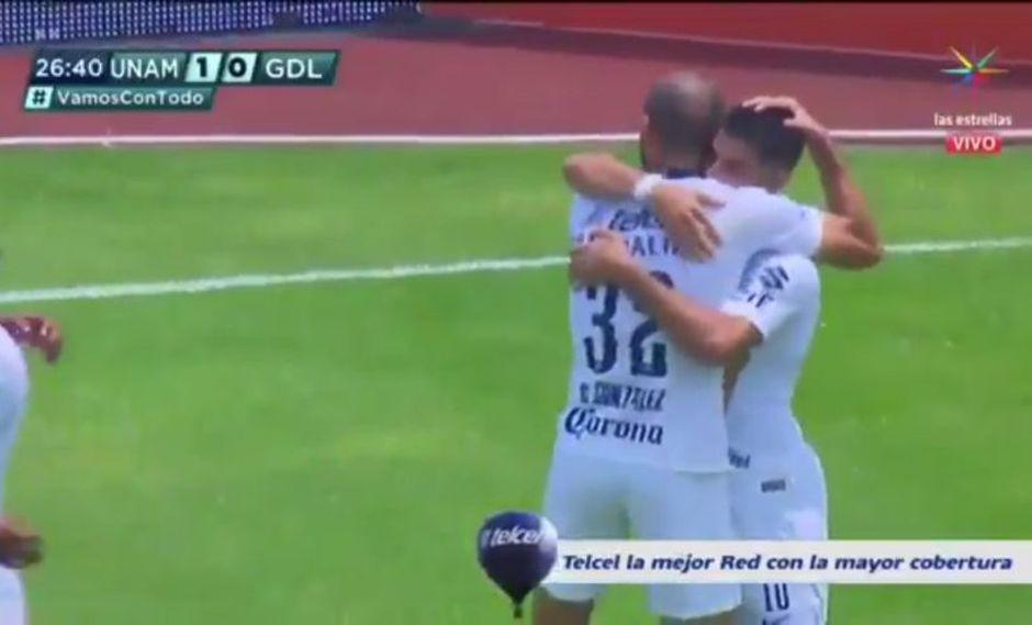 Carlos Gonzales fue el autor del 1-0 en el Chivas vs. Pumas en el marco de la jornada 12° del Clausura de la Liga MX (Foto: captura de pantalla)