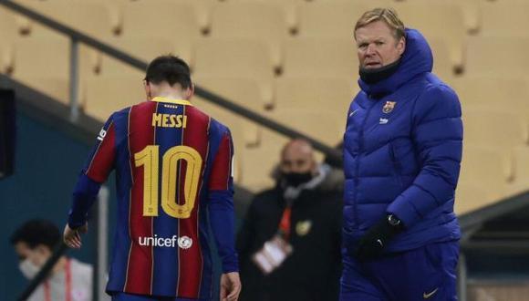 Ronald Koeman preocupado por la situación de Lionel Messi. (Foto: EFE)
