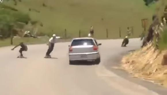 Skater es atropellado cuando hacia downhill en Brasil [VIDEO]