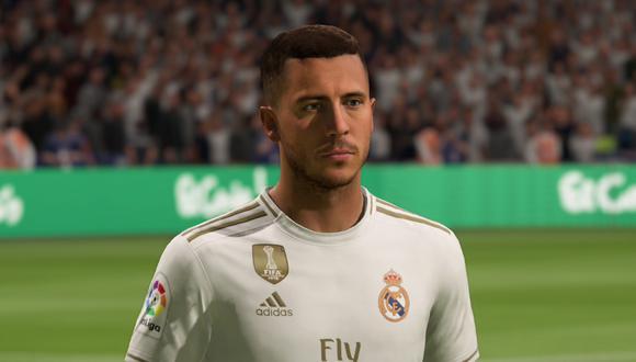 Eden Hazard, jugador del Real Madrid, en FIFA 20. (Captura de pantalla)