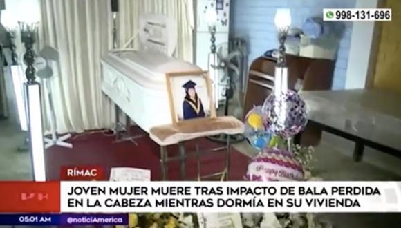 Los peritos de Criminalística determinaron que la causa de la muerte de la joven fue un impacto de bala en la cabeza que ingresó por el techo de calamina. Foto: captura de video