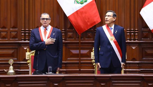 Pedro Olaechea ha asumido recientemente la presidencia del Congreso. El mandatario Martín Vizcarra ha planteado recorte de mandato y adelanto de elecciones al 2020. Queda ver cómo avanza esta relación. (Foto: Congreso)