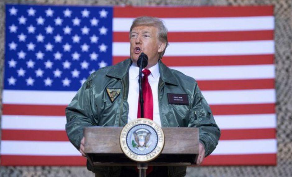 El presidente de Estados Unidos, Donald Trump, visitó esta semana la base estadounidense de Ain al Asad, en Iraq. (Foto: AFP)