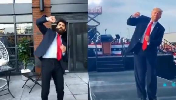 Las redes sociales se han llenado con videos en los que los usuarios imitan el baile que Donald Trump hace durante su campaña a la presidencia de Estados Unidos. (Foto: @LivePDDave1 / Twitter)