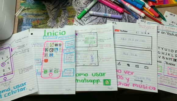 Joven decidió ayudar a su abuela  para que use su celular, así que le dibujo un manual (Foto: Facebook)