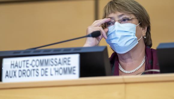 La Alta Comisionada para los Derechos Humanos, Michelle Bachelet, asiste a la inauguración de la 45a sesión del Consejo de Derechos Humanos, en la sede europea de las Naciones Unidas en Ginebra. (AFP / POOL / MARTIAL TREZZINI).