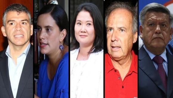 Los políticos que lideran la intención de voto presidencial, según la encuesta de El Comercio-Ipsos. (Foto: Archivo El Comercio)