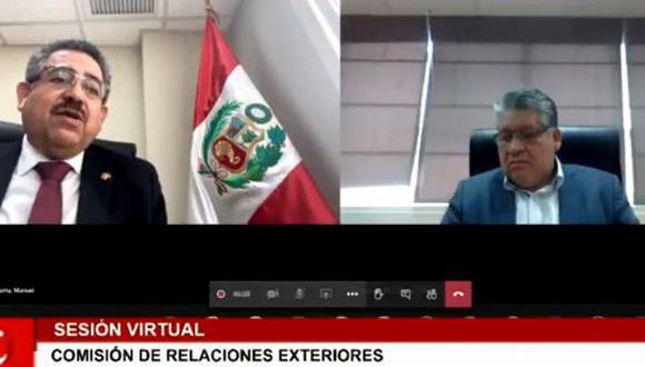 Manuel Merino intervino en la sesión de la Comisión de Relaciones Exteriores (captura de pantalla)