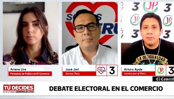 Los candidatos al Congreso José Jerí (Somos Perú) y Arturo Ayala (Juntos por el Perú) expusieron sus ideas en el debate electoral virtual de El Comercio (foto: captura).