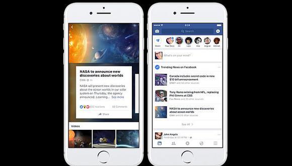 Versión móvil de Facebook ofrecerá tres temas principales de tendencias actuales en lugar de solo una. (Foto: Facebook)