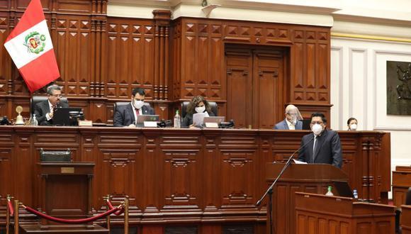 """Zeballos afirmó, durante su discurso ante el pleno, que """"hoy la salud está primero"""" en el futuro del país. (Foto: PCM)"""