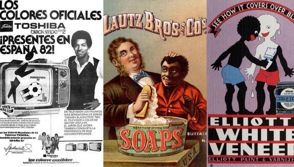 Tres ejemplos de racismo en anuncios comerciales de distintas épocas.